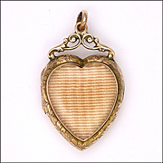 Victorian 9K Gold Front and Back Heart Shaped Locket