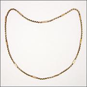 "English Edwardian  9K Gold Elongated Link Necklace - 16"" - 6.1 grams"