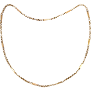 "English Edwardian  9K Gold Elongated Link Necklace - 16"" - 6.1 grams"