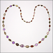 """Arts and Crafts Sterling Silver and Gemstone Necklace - 22"""""""