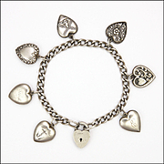 Sterling Silver Heart Charm Padlock Bracelet - Eight Charms Some Antique