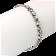 Art Deco European Silver Zircons Bracelet