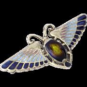 Art Deco English Sterling Silver Enamel Scarab Beetle Pin