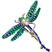 Silver Enamel and Blister Pearl Dragonfly Brooch Circa 1910-1920