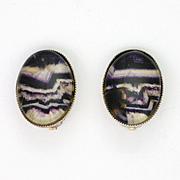 English Blue John Stone on Sterling Silver Clip Earrings
