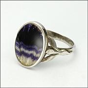 English Sterling Silver Blue John Ring
