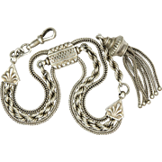 Victorian Sterling Silver Albertina Chain/Bracelet with Tassel