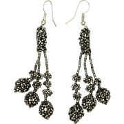 Victorian Cut Steel Reconfigured Drop Earrings - Sterling Hooks