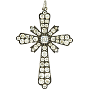 Late Georgian or Early Victorian French Silver Paste Cross Pendant