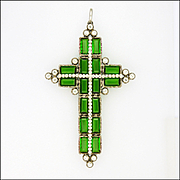 Victorian Silver  and Pastes Large Cross Pendant