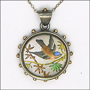 Victorian Aesthetic Period Silver Enamel Bird on Branch Pendant Necklace