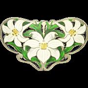 Art Nouveau Large Sterling Silver Enamel Lilies Sash Brooch/Pin