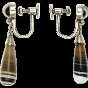 Victorian Silver Banded Agate Drop Earrings - Screw Backs