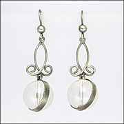 Victorian Silver 'Pools of Light' Rock Crystal Drop Earrings