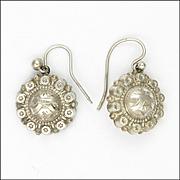 Victorian 800-900 Silver Engraved Earrings - Hooks for Pierced Ears