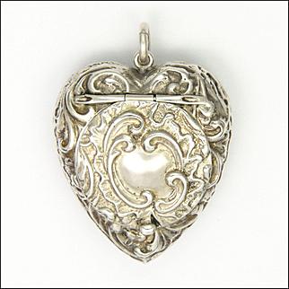 Victorian Sterling Silver Heart Pendant Locket Box