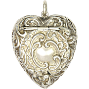 Victorian Sterling Silver Heart Pendant Locket Box