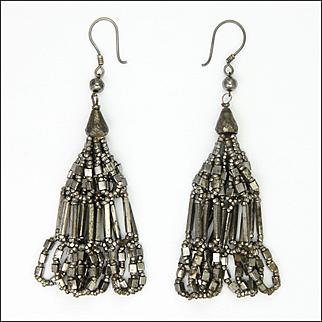 Victorian Cut Steel Double Tassel Earrings