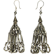 Victorian Cut Steel Double Tassel Earrings