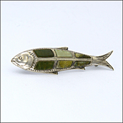 Victorian Sterling Silver and Connemara Marble Fish Pin