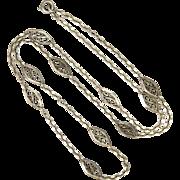 French Circa 1900  Decorative Silver Necklace - 23¾ inches