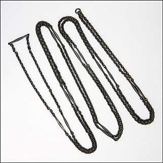 "Victorian Gunmetal Long Guard Chain - 62½ """