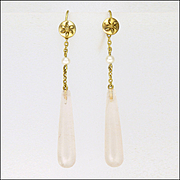 Edwardian 9K Gold Pearl and Rose Quartz Drop Earrings
