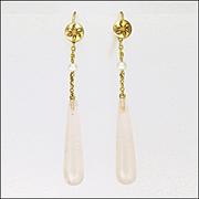Edwardian 9K Gold Pearl and Rose Quartz Drop Earrings