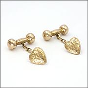 Edwardian 9K Gold Engraved Heart Cufflinks