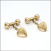 Edwardian 9K Gold Engraved Heart Cufflinks