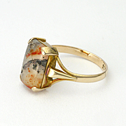 English Art Deco 9K Gold Moss Agate Ring