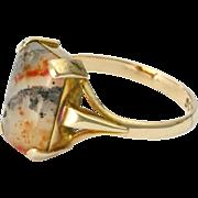 English Art Deco 9K Gold Moss Agate Ring