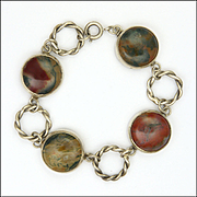 Scottish Sterling Silver Moss Agate Bracelet
