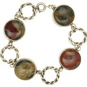 Scottish Sterling Silver Moss Agate Bracelet