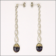 English  Blue John Sterling Silver Barley Twist Drop Earrings - Pierced Ears