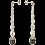 English  Blue John Sterling Silver Barley Twist Drop Earrings - Pierced Ears