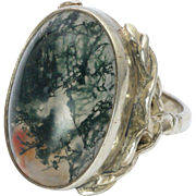 English Sterling Silver and Moss Agate Celtic Style Ring