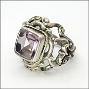 English Renaissance Revival Amethyst and Sterling Silver Ring