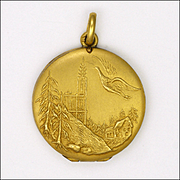 French Circa 1900 Stork and Church Gold Filled 'FIXE' Locket