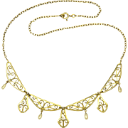 French Art Deco Gold Filled Necklace - MURAT