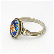 French Bressans Silver Enamel Ring