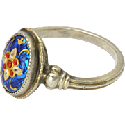 French Bressans Silver Enamel Ring