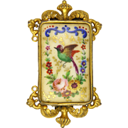 French Antique Limoges Ceramic Plaque with Bird in Gilded Frame