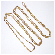 French Antique Rose Gold Filled 'FIXE' Guard Chain - 58""