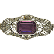 French Circa 1900-1910 Silver Marcasite and Amethyst Paste Pin