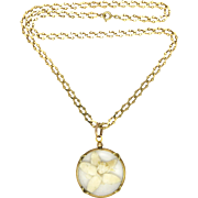 French Antique Gold Filled 'FIX' Locket with Decorative Gold Filled Chain