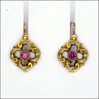 French Antique Gold Filled 'FIX' Spinel Gemstone Earrings