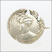 French Antique Silver Small 'L'Aiglon' Pin