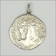 French Art Nouveau Style Silver Horse's Head Pendant
