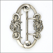 French Art Nouveau Silver Griffins Buckle